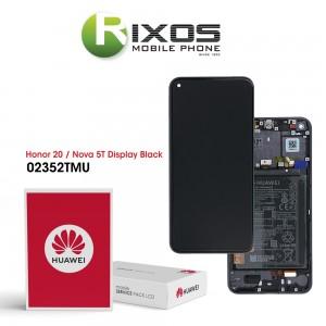Huawei Honor 20 (YAL-AL00 YAL-L21) Nova 5T (YAL-L61) Display module front cover + LCD + digitizer + battery midnight black 02352TMU