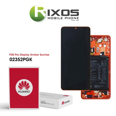 Huawei P30 Pro (VOG-L09 VOG-L29) Display module front cover + LCD + digitizer + battery amber sunrise 02352PGK