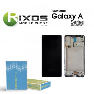 Samsung Galaxy A22 (SM-A225 4G) Lcd Display unit complete + Frame Black With Battery GH82-26241A