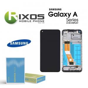 Samsung Galaxy A12 (SM-A125F) Lcd Display unit complete black + btry GH82-24708A OR GH82-24709A