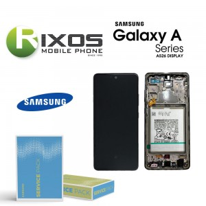 Samsung Galaxy SM-A526 / A525 (A52 5G / 4G 21) Lcd Display unit complete black + btry  GH82-25229A OR GH82-25230A