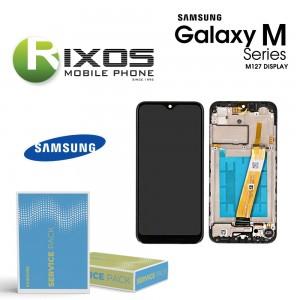 Samsung Galaxy M12 (SM-M127) Display unit complete black + Btry GH82-25494A OR GH82-25495A