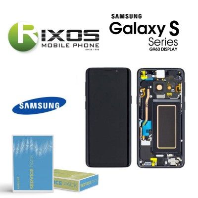 Samsung Galaxy S9 (SM-G960F) Lcd Display unit complete midnight black GH97-21696A OR GH97-21697A